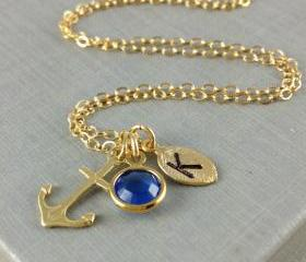 Anchor Initial Necklace, September Birthstone, Swarovski Birthstone, Bezel Set, Gold Anchor Jewelry, Leaf Initial, Christmas Gift, Birthday
