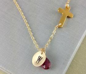 October Birthstone, Tourmaline, Sideways Cross Necklace, Personalized Initial Necklace, Birthstone Necklace, Birthday Gift, Gold Cross, Gift