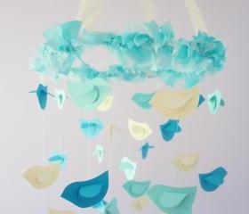 Aqua Nursery Mobile- Birds in Aqua, Ivory, & Turquoise- Nursery Decor, Baby Shower Gift