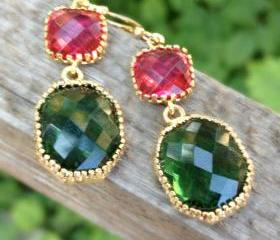 Emerald Green and Hot Pink Framed Glass Earrings, Double Drop Earrings, Bridesmaid Gift, Wedding, Fashion, Christmas Gift, For Her, Unique