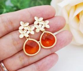 Everyday wear jewelry Wedding Jewelry Bridesmaid Jewelry Matte gold plated flower ear posts with Fire Opal Orange Glass Drops earrings