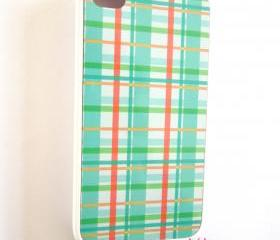 Plaid iPhone Case for 4 & 4S Model Phones Mint and Coral Plaid