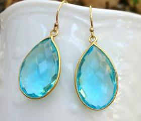 Blue Quartz Earrings, Bezel Gemstone Earrings, Gold Vermeil Frame, Christmas Gift, Birthday Gift, Bridesmaid Gift, Wedding Earrings, Dangle