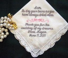 Personalized Wedding Handkerchief from Bride to her Mother 116S