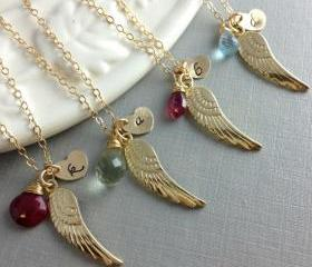 Set Of 4 Bridesmaid Gift, Birthstone Initial Necklace, Angel Wing Necklace, Wedding Jewelry, Unique Bridesmaid Gift, Christmas Gift Set