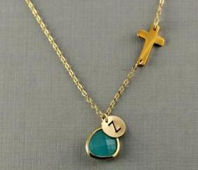 Personalized Sideways Cross Necklace, Initial Necklace, Gold Cross Initial Necklace, Christmas Gift, Bridesmaid Gift, Birthday Gift, Bezel