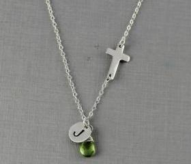 Personalized Sideways Cross Necklace, August Birthstone Peridot, Monogram Necklace, Handstamped Initial, Christmas Gift, Mother Gift