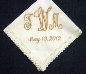 Personalized Wedding Gift - Wedding Hankerchief -Bridal Handkerchief in ivory with Gift Box