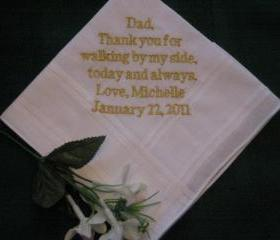 Personalized Wedding Gift - Wedding handkerchief -for Father of the Bride with Gift Box 19B
