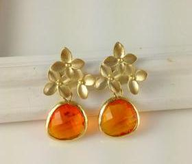 Orange Cherry Blossom Earrings, Carnelian Color, Gold Framed Earrings, Bridesmaid Gift, Christmas Gift, Mother In Law Gift, Auntie Gift