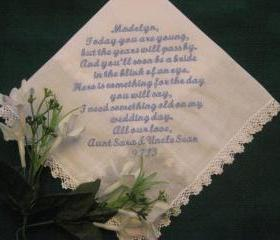 Personalized Wedding Gift Handkerchief for the Flower Girl 133S with a free gift box.
