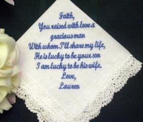 Personalized Wedding hanky from Bride to Mother of the Groom with Gift Box 56S
