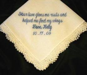 Mother of Bride hanky, love gives me roots with Gift Box 15S