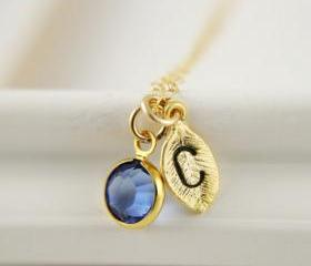 Monogram Necklace September Birthstone Sapphire Swarovski Crystal Bezel Leaf Initial Bridesmaids Gift Mothers Day Gift Idea Everyday Jewelry
