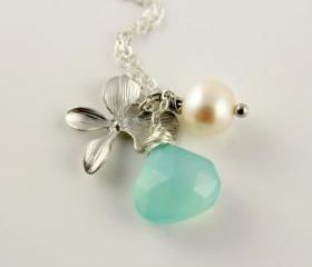 Aqua Blue Chalcedony White Freshwater Pearl Orchid Necklace, Sterling Silver , Wire Wrapped Briolette, Wedding , Bridal, Bridesmaids Gift