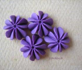 4PCS - Mini Coral Cabochons - Resin - Violet - 10mm - Findings by ZARDENIA