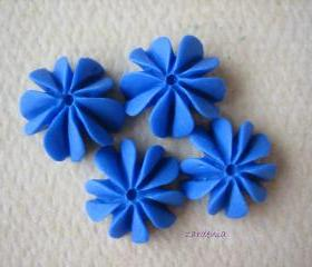 4PCS - Mini Coral Cabochons - Resin - Royal Blue - 10mm - Findings by ZARDENIA