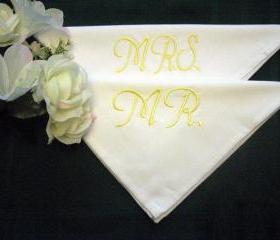 Personalized Wedding Mr. and Mrs. Wedding Napkins for the Bride and Groom