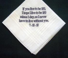 Personalized Wedding Handkerchief from bride to groom with Gift Box 2B