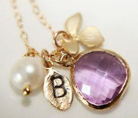 Customize Leaf Initial Orchid Necklace, Lilac Briolette, Freshwater Pearl, Monogram, Wedding, Personalized Gift, Bridesmaids, Valentines Day