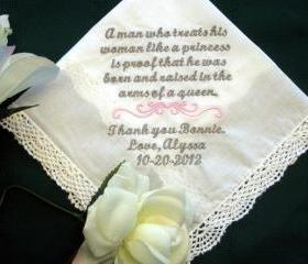 Personalized Wedding Gift Handkerchief from the Bride to Mother of Groom 134S