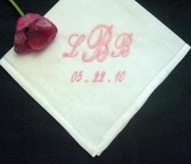 Personalized Wedding Gift - Wedding Handkerchief -Classic Linen Mens Handkerchief with Gift Box