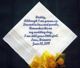 Personalized Wedding Gift Handkerchief from the Bride to her Father 27S