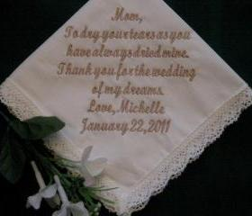 Personalized Wedding Gift -- Bridal ivory wedding handkerchief with gift box 9S