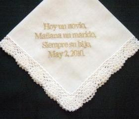 Spanish Wedding Hanky for Mother of the Groom with gold metallic thread with Gift Box 60B