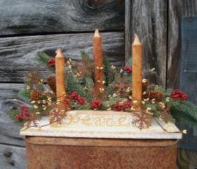 Wooden Candle Holder - Hand Cut from Pine - Distressed Antique White Over Mustard Yellow - Vanilla Sugar Candles