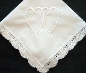 Personalized wedding gift- double heart handkerchief