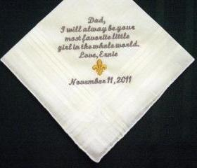 Personalized Wedding Handkerchief from the Bride to her Father 118S