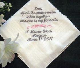 Personalized Wedding Handkerchief from the Bride to her Father 115S