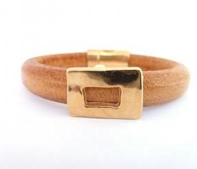 Thick Leather Bracelet in tan colour with gold plated rectancular charm