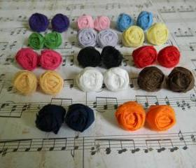 Farbic Rosette Earrings - You choose the color