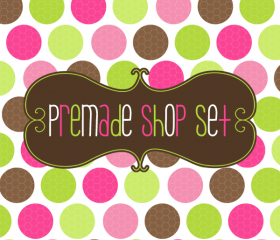 Premade Luulla Shop Set - Pink Olive Polkas