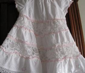 Sweet Pink and White Vintage Girl's Cotton and Lace Dress Handmade