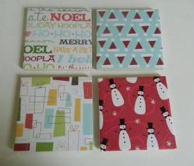 Christmas Print Tile Coasters