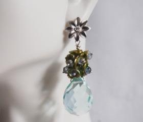Sky Blue Quartz, Green keishi pearl, Iolite dangle Earrings