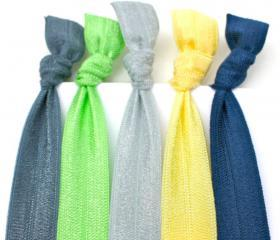 Elastic Hair Ties, Bracelets (5) - Yoga Hair Ties - Emi Jay Like Ribbon Hair Bands - Hair Accessories - Knotted Hair Ties 
