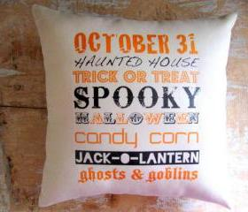 Halloween Pillow, Spooky, Fall, Subway Art, Trick or Treat
