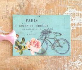 Paper Tag, Gift Tag, French, Paris, Bicycle, Roses