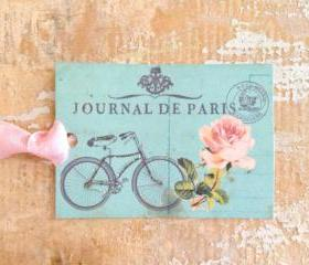 Paper Tag, Gift Tag, French, Paris, Bicycle, Vintage, Floral