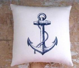 Nautical Pillow, Anchor, Beach, Ocean, Boat, Cottage Decor
