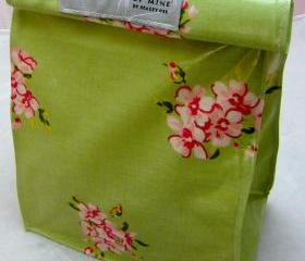 Oilcloth Lunch Bag - Pink Flowers On Mint Green