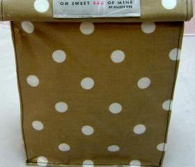 oilcloth Lunch Bag - Spots - White On Brown