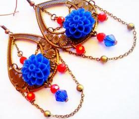 Blue flower dangle earrings