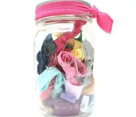 Hair Tie Gift Set (25) Mason Jar - Bridesmaid Gift - Bridal Shower Gift - Flower Girl Gift - Ribbon Hair Ties - Emi Jay Inspired Hair Tie 