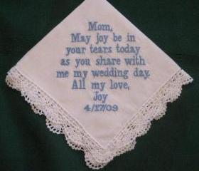 Personalized Wedding Gift - Wedding Handkerchief for Mother of the Bride with Gift Box 16B