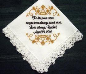 Wedding Handkerchief for Mother of Bride with Free Gift Box and Free shipping in the US 125S